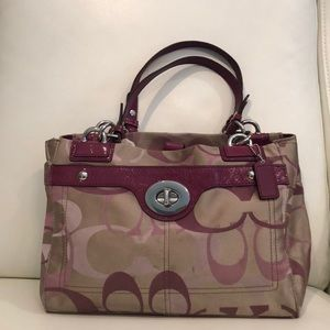 COACH Magenta Patent Leather/Monogram handbag
